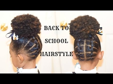 KIDS NATURAL BACK TO SCHOOL HAIRSTYLES: THE PLAITED UP DO(Fast Hairstyle For Little Black Girls)