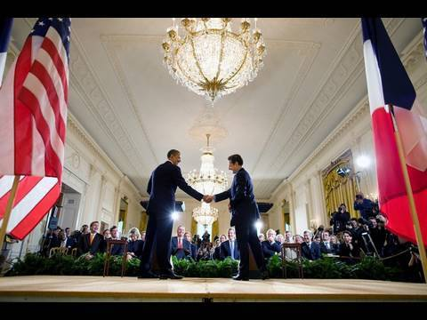 President Obama and President Sarkozy at the White House
