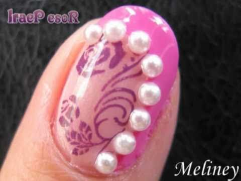 Konad Stamping Nail Art Tutorial Rose Pearl Pink Design For Short