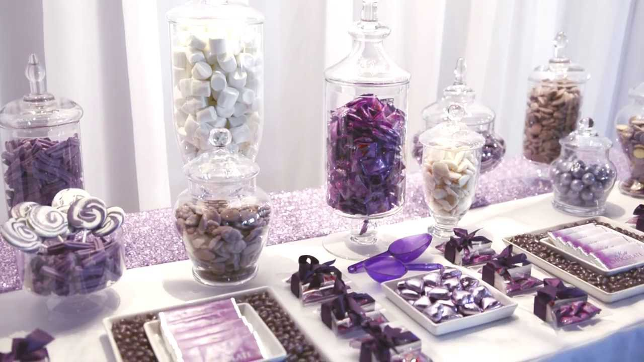 elegant purple wedding candy bar enchanted empire event