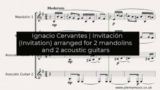 Cervantes I. | Invitación (Invitation) arranged 2 mandolins and 2 acoustic guitars