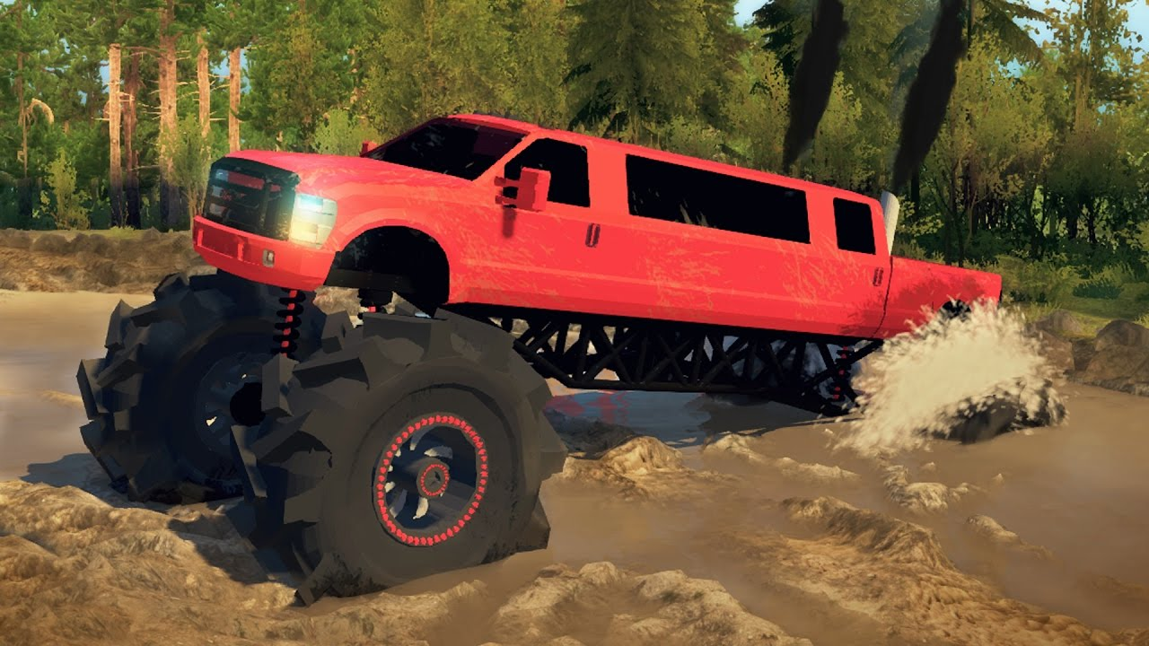 2016 Ford F350 >> FORD F350 LIMO MEGATRUCK! 4x4 Mudding, Hill Climbing, & Off-Roading! (SpinTires) - YouTube