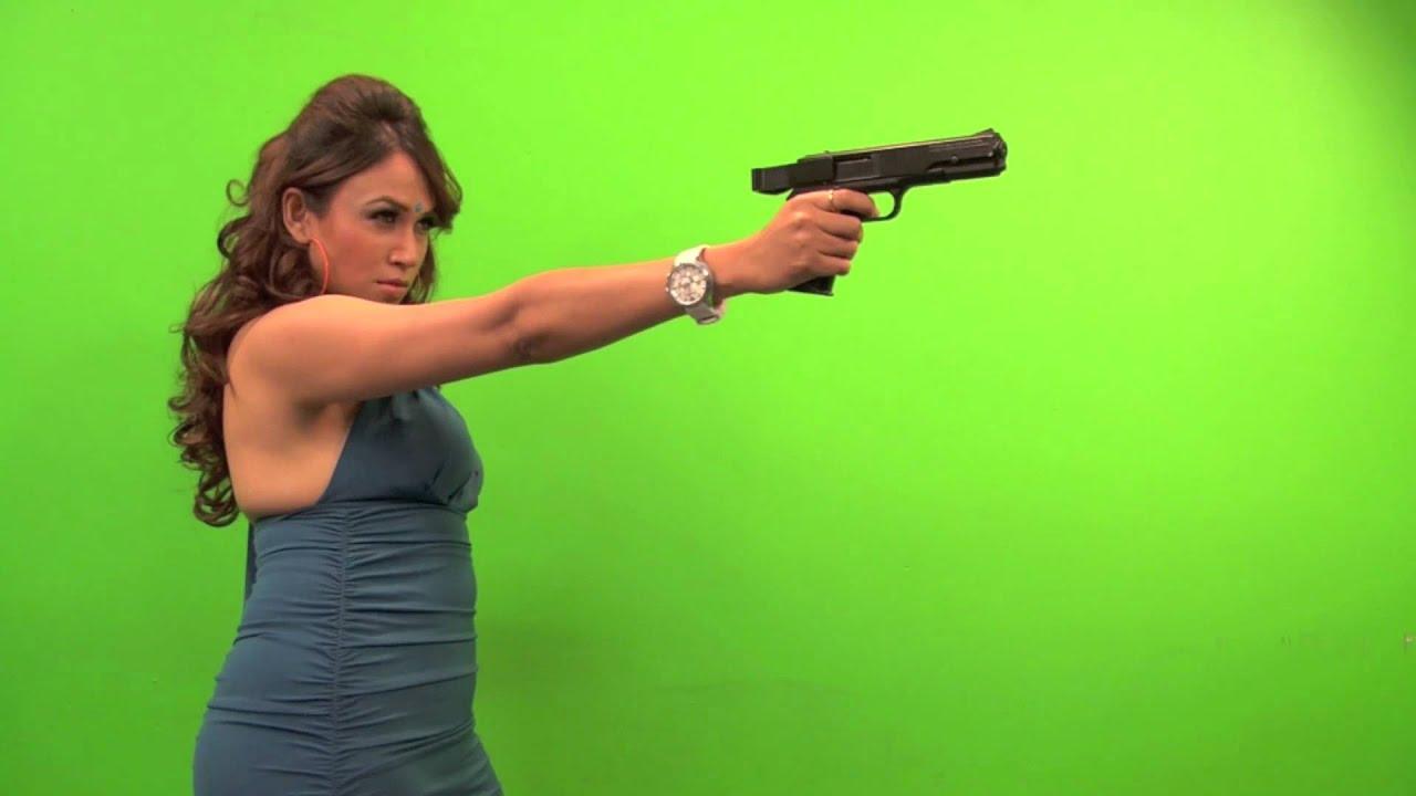 Indian Girl With Gun Hd Wallpaper Gir Lpoints And Shoots Green Screen Youtube