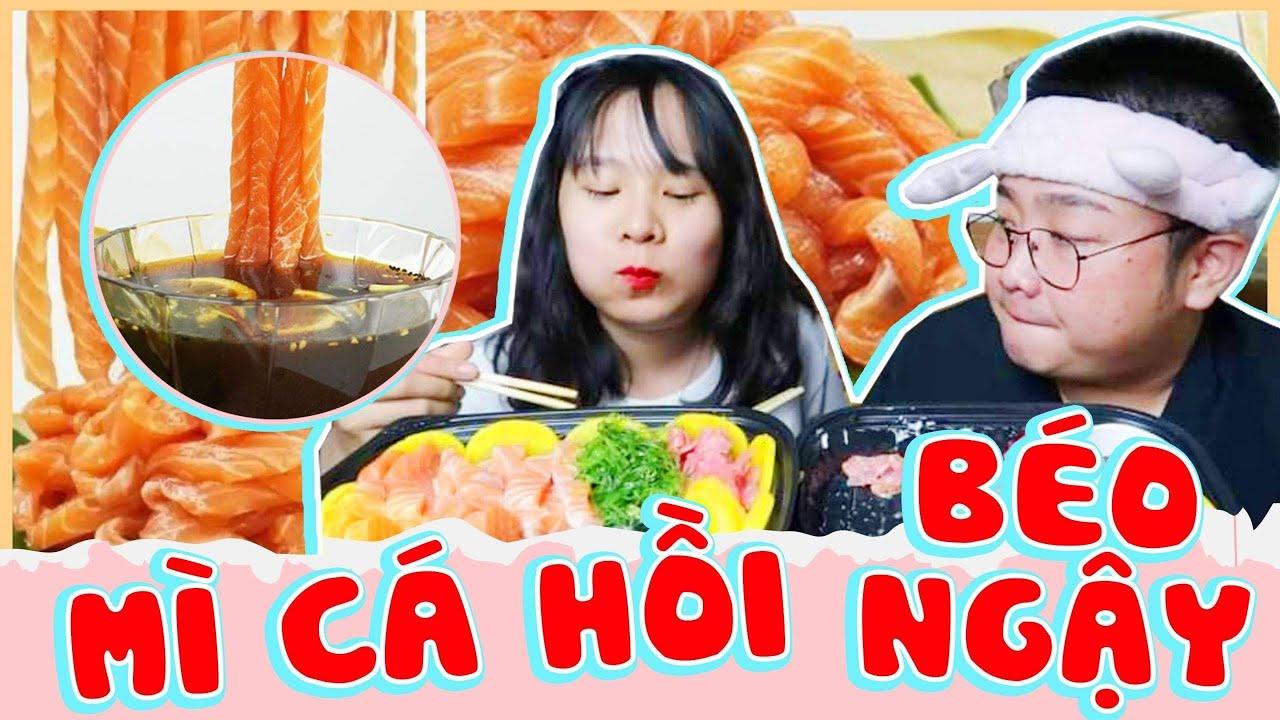 Tốn Tiền Triệu Cho Khay Mì Sashimi Cá Hồi Gần 1 Kg Tươi Ngon Béo Ngậy   Ăn Sướng Hết Cả Mồm   Gấu To