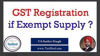 GST Registration if Exempt Supply