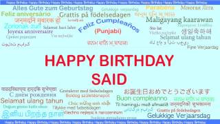 Said   Languages Idiomas - Happy Birthday