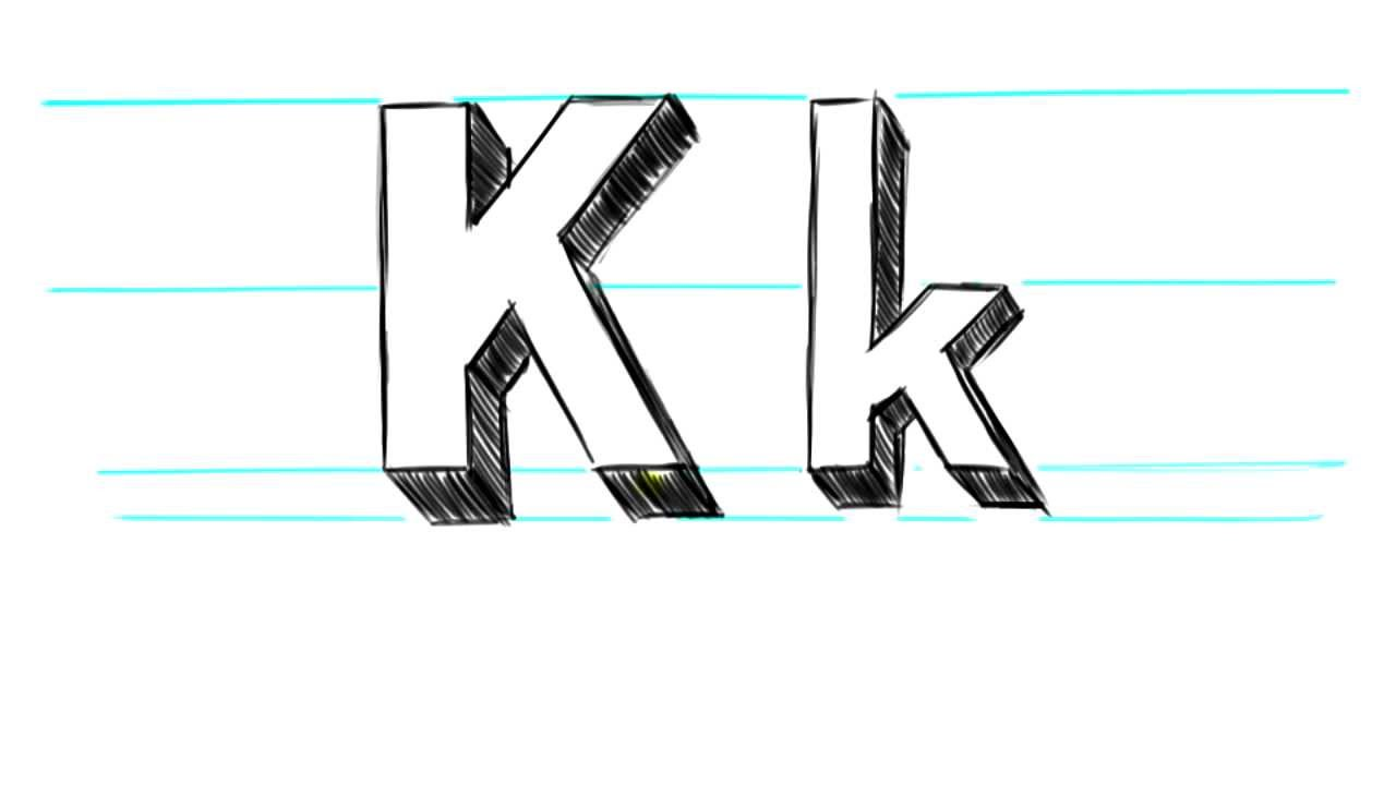 how to draw 3d letters k uppercase k and lowercase k in 90 seconds youtube