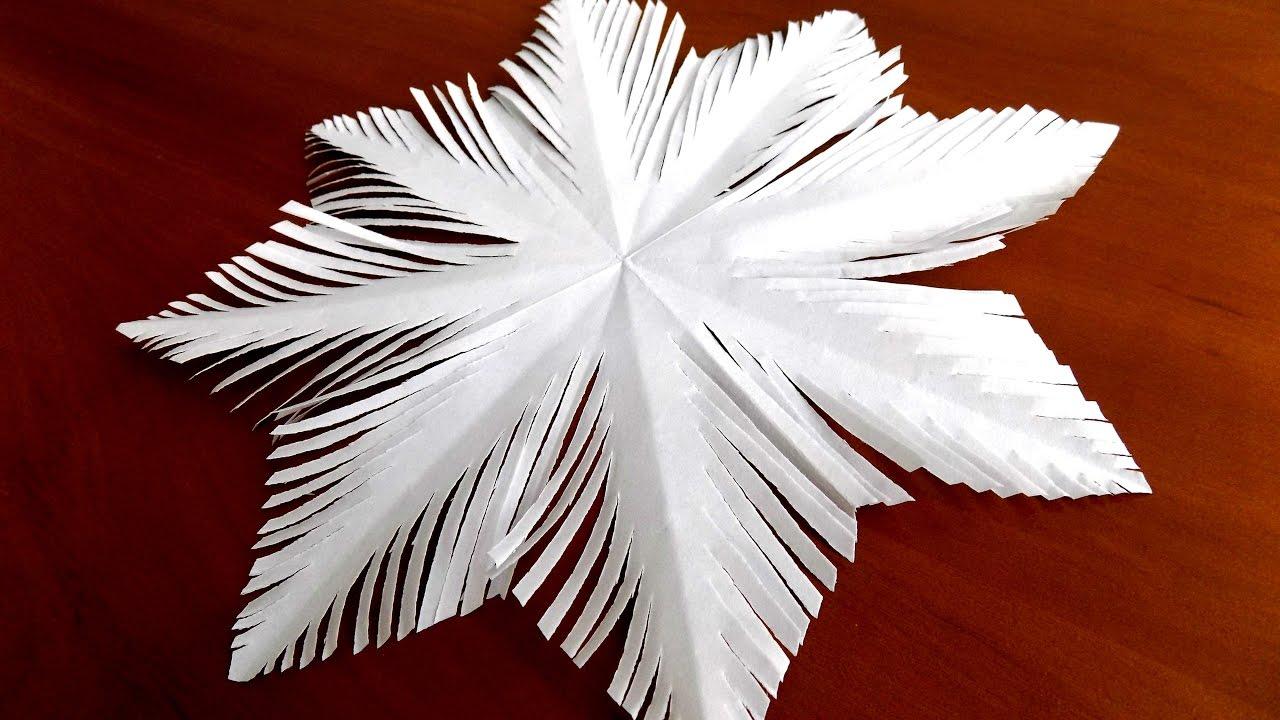 как сделать простую снежинку из бумаги поэтапно - YouTube