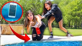 Throwing Sisters iPhone In The Pool **GONE VERY WRONG**