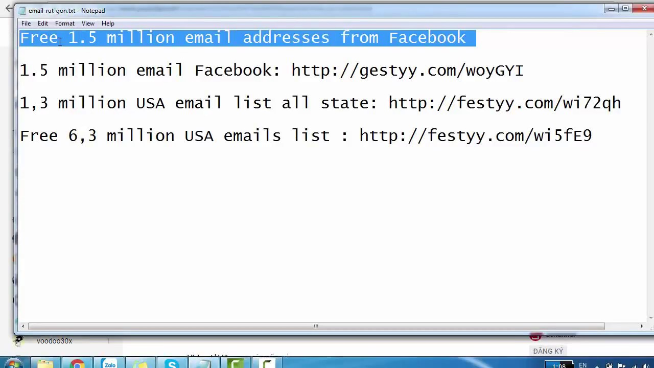 Free 1 5 million email addresses from Facebook new extract