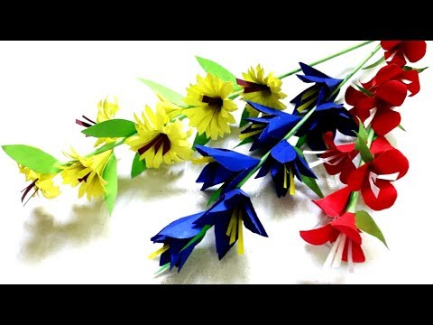 3 Easy Flowers Stick Making with Color paper step by step / DIY paper craft
