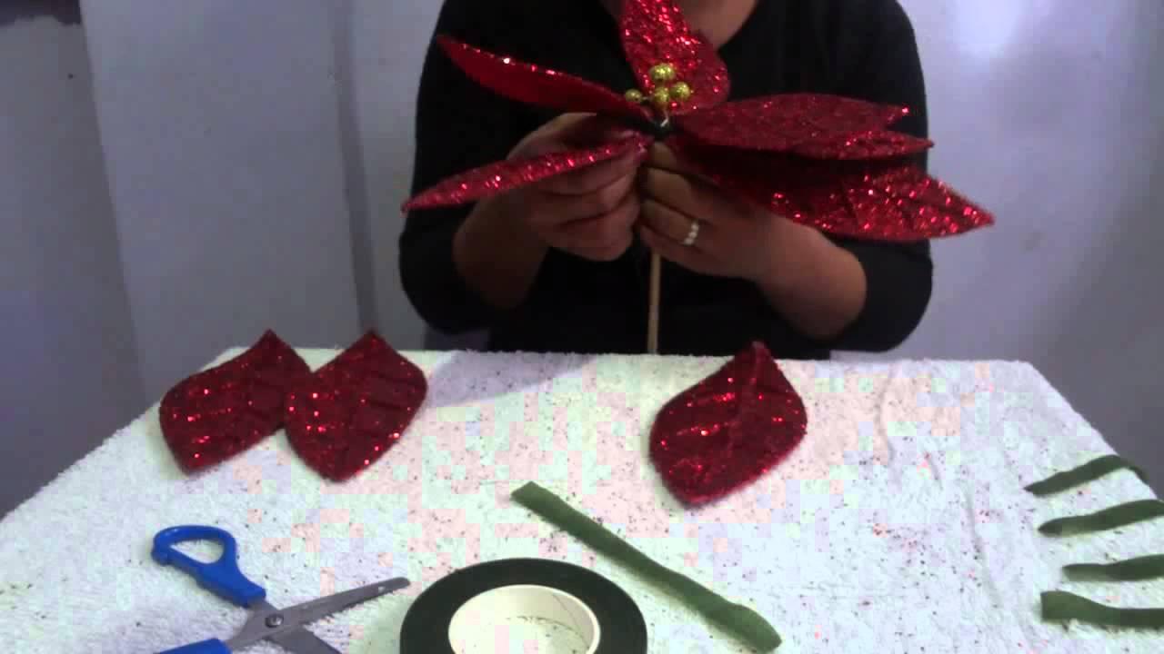 Como hacer una nochebuena con limpiapipas flor de - Manualidades como hacer ...