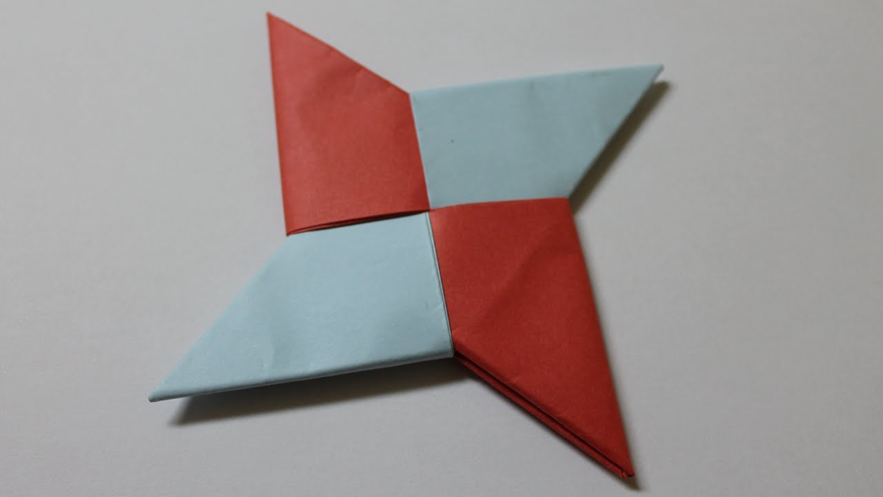 Como hacer una estrella ninja de papel de 4 puntas youtube - Estrellas de papel ...