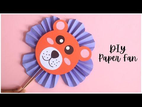 DIY Paper Fan Tutorial | Lion Paper Fan | Paper Crafts EASY