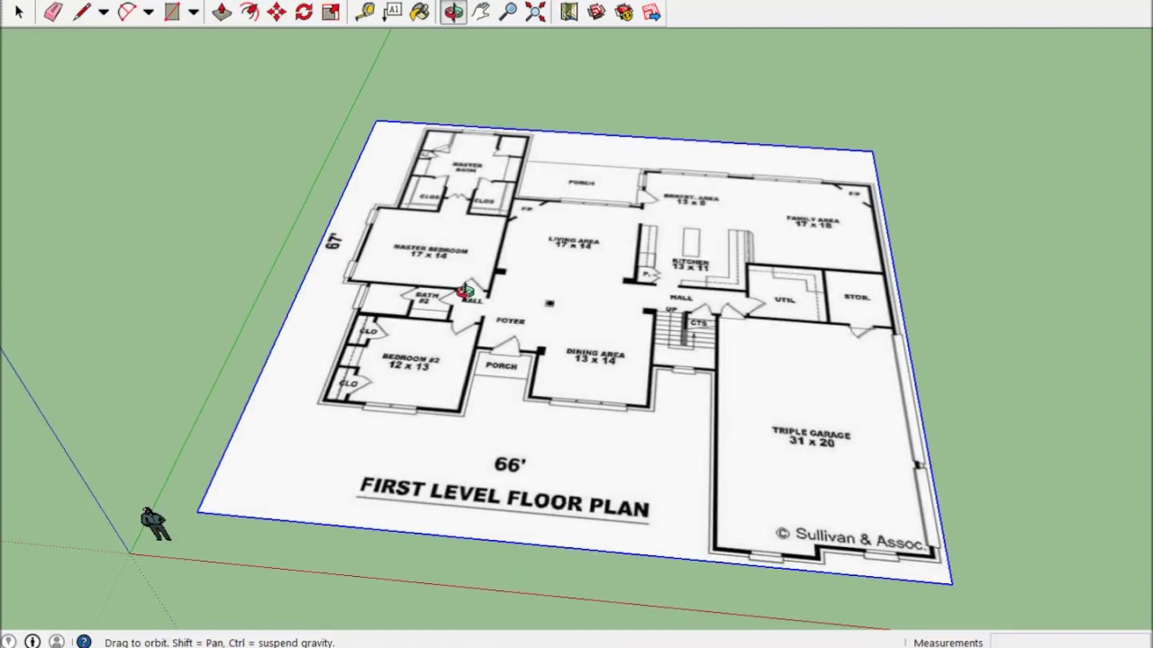 Sketchup house 01 import floor plan youtube for How to design a floor plan in sketchup