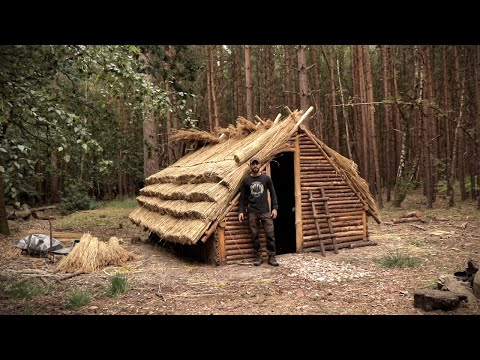 Thatch Roof House: Full Bushcraft Shelter Build With Hand Tools | Saxon House