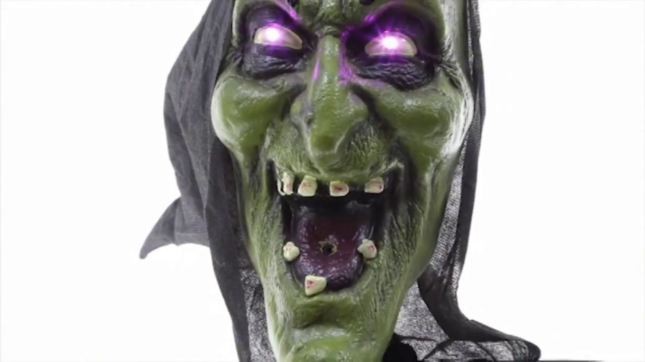 6 ft. motion activated animated hooded witch - youtube
