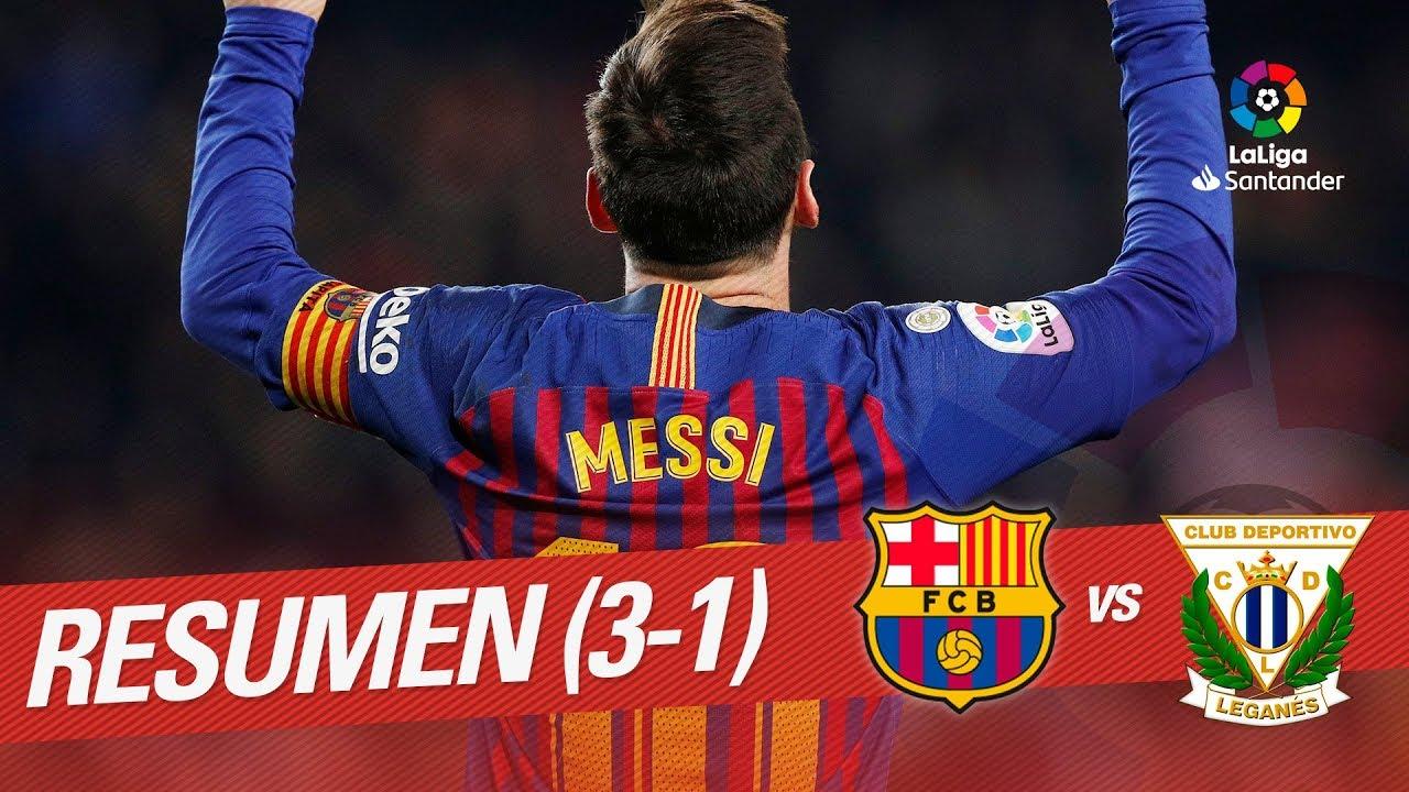 Resumen de FC Barcelona vs CD Leganés (3-1)