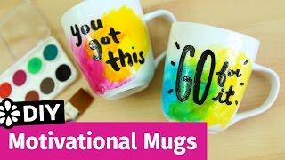 DIY Motivational Watercolor Mugs | Sea Lemon