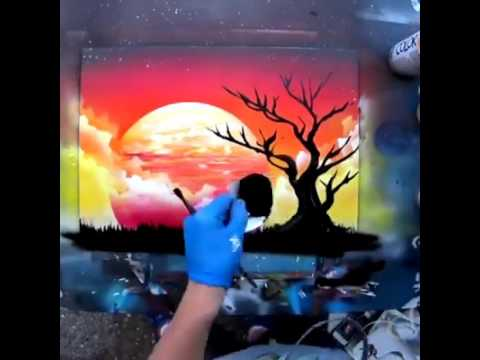 African Sunset Spray Paint Art By Skech