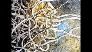 Acryl Wischtechnik ,Gewirr, Acrylics wipe out technique ,tangle