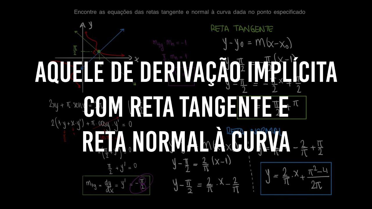 Aquele de derivação implícita com reta tangente e reta normal à curva