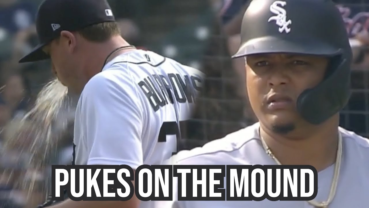 Tigers Pitcher throws up on the mound, a breakdown