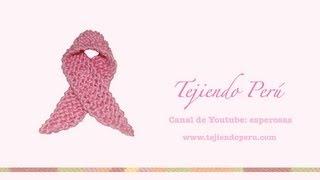 Repeat youtube video Lazo rosado símbolo de la lucha contra el cáncer de mama tejido en dos aguja o palitos