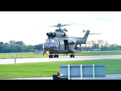 Air Power Combat Visit, Puma helicopter arriving. RAF Coningsby 20/10/17.