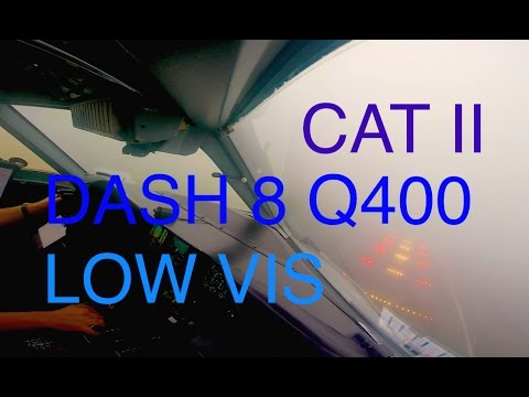 Low visibility CAT II Approach Dash 8 Q400 in Newquay NQY / EGHQ