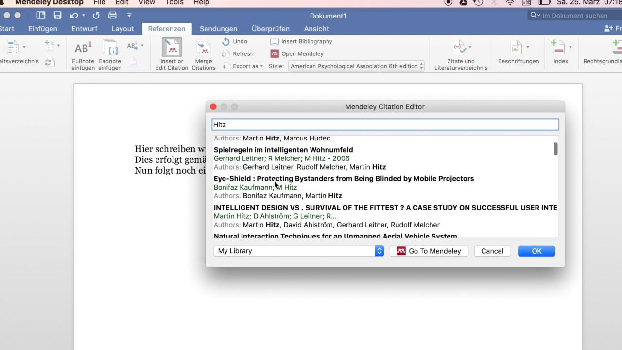 Zitieren Mit Mendeley In Microsoft Word