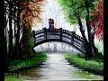 Romantic Couple on Bridge-Oil Painting On Canvas