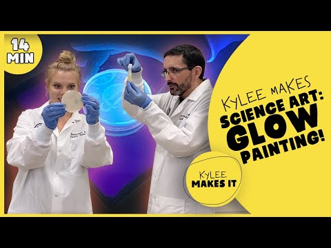 Kylee Makes Science Art: Glow Painting   Black Light Painting for Kids!   Petri Dish Kids Art Video