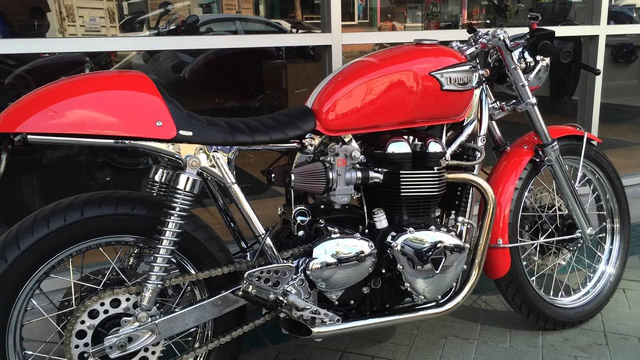& Thruxton with Straight Exhaust Pipes - YouTube