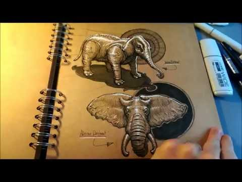 Sketchbook tour - Animals studies on toned pad