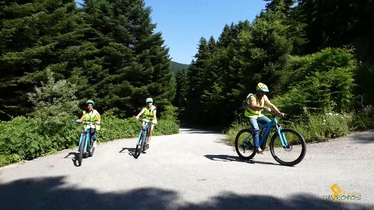 YouTube videoH διαδρομή των 24km με E-bikes: Κέντρο ενημέρωσης του Tavropos activities-Νεράιδα, Νεοχώρι