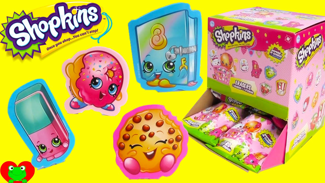 Shopkins Erasers Blind Bags With Shoppie Doll Youtube