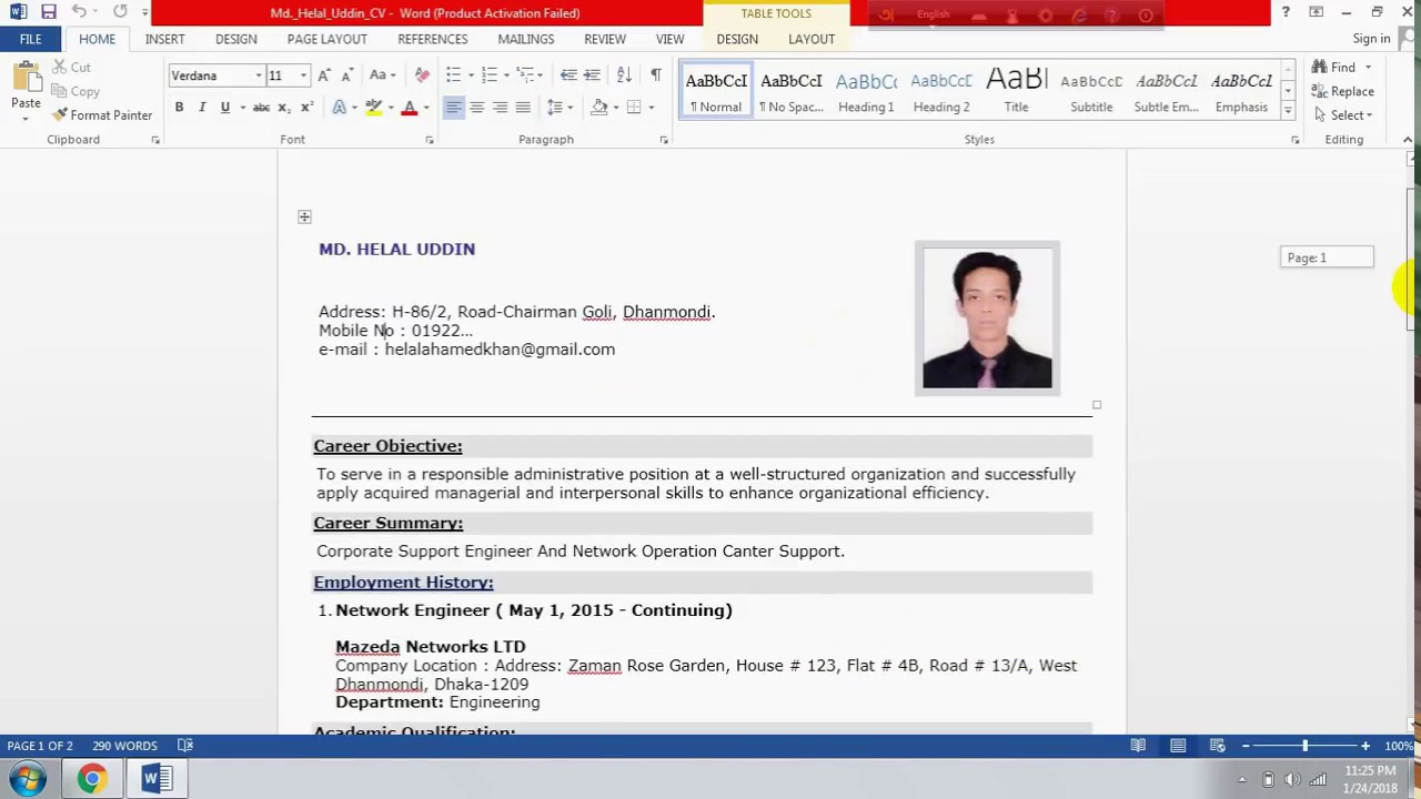 How To Write A Good Cv Format Resume In Bengali Networking Bd