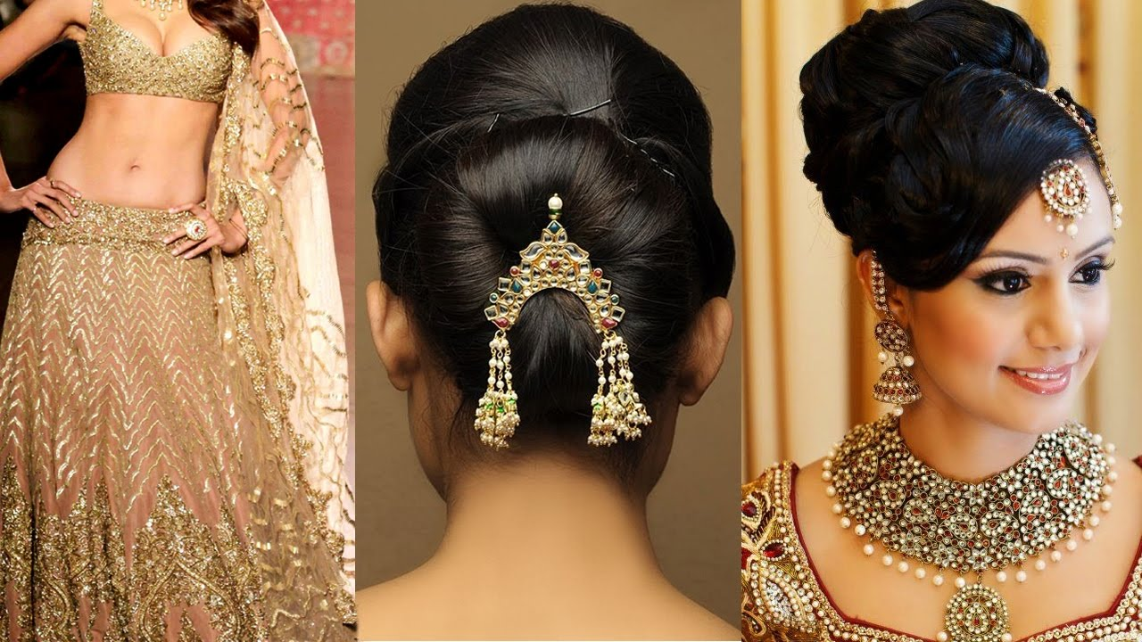 Different hairstyles to try with sarees - Lehenga Style Saree Draping With Makeup And Hairstyle Step By Step Lehenga Bridal Makeup