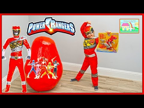 Red Ranger Opens Big Power Rangers Surprise Egg Toys & Golden Egg Surprises w/ Pretend Play for Kids