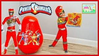 Huge Power Rangers Egg Surprise Toys Opening Dino Charge Toy Surprises!