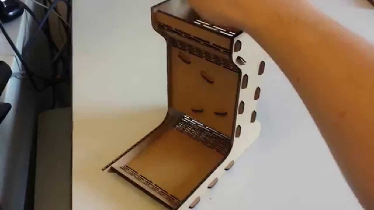 Laser Cut Dice Tower - YouTube for Laser Cut Cardboard Box  557ylc