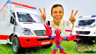 Человек Паук и скорая помощь для машинок! Видео с игрушками.