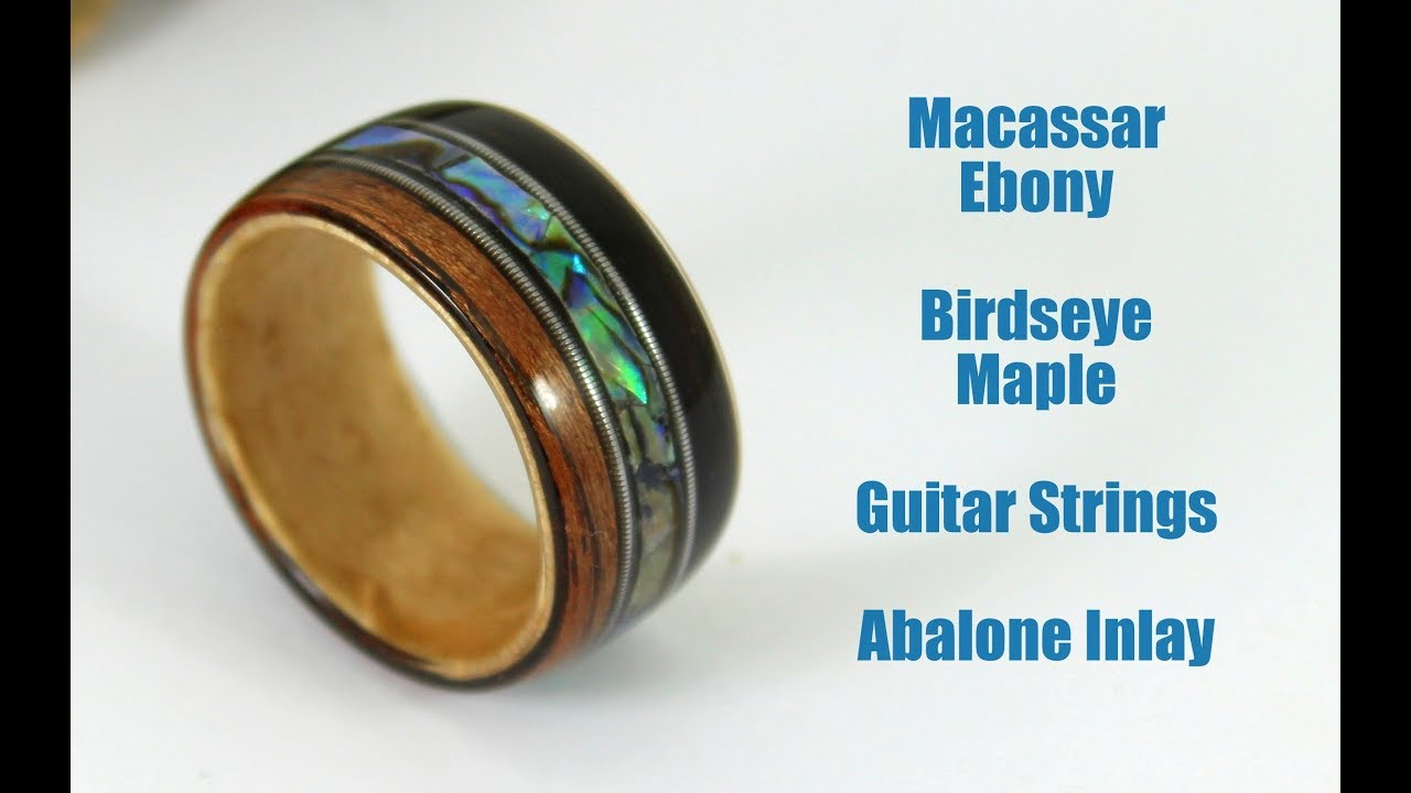 how to make a bent wood ring with guitar strings and abalone inlay youtube. Black Bedroom Furniture Sets. Home Design Ideas