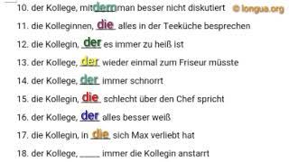 A1, A2, B1, B2, Übungen, Relativpronomen, Relativsatz, Contact Clause, German, Pronouns, der, die,
