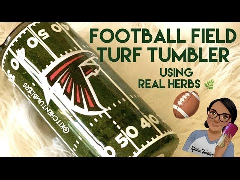 Football Field, Grass, Turf Epoxy Tumbler With Real Herbs