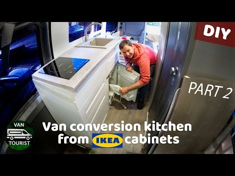 Kitchen in van conversion from ikea cabinets. Ultimate guide for building rv kitchen unit - part 2