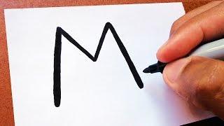"""Como Transformar a letra """"M"""" em um  GATO /ᐠ.ꞈ.ᐟ \ ,  TRUQUES EM DESENHOS"""
