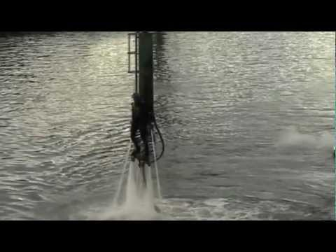 Water-propelled jet packing on Glasgow's River Clyde