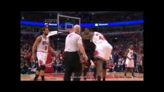 2013 Playoffs Lebron Pushed Down By Nazr Mohammed